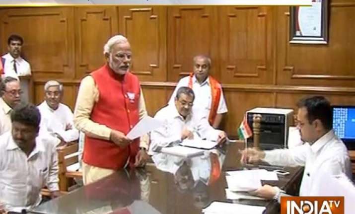 in pics modi files nomination papers in vadodara