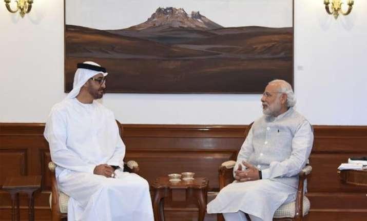 pm modi crown prince of abu dhabi hold close door meeting