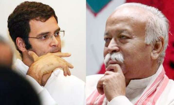 rss camp bristles as rahul says there s little difference