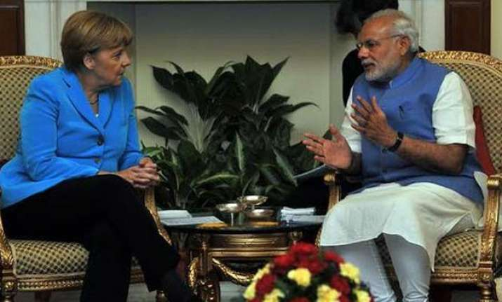 angela merkel meets pm modi india germany ink 18 mous