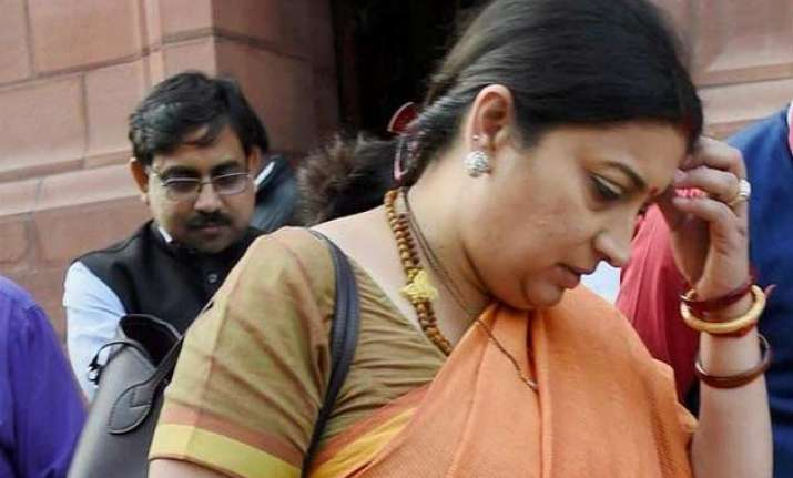 smriti irani in a spot after children contradict her claim