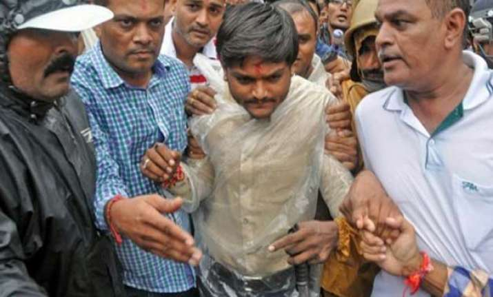 hardik patel in detention protests at few places in gujarat
