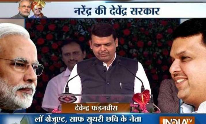 in pics devendra fadnavis sworn in as maharashtra cm