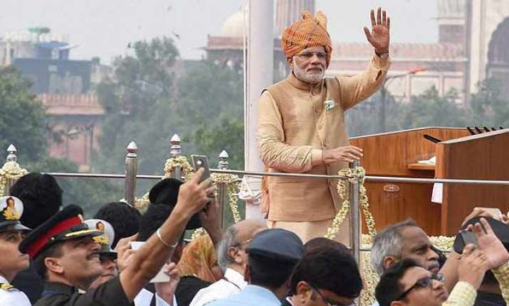in pics pm modi s independence day speech vows to end