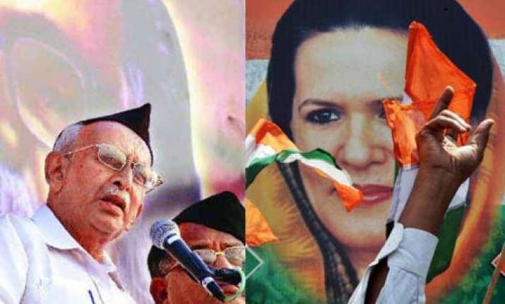 congress asks partymen to protest rss leader s anti sonia
