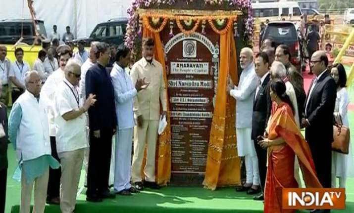 pm modi lays foundation stone for amaravati new andhra