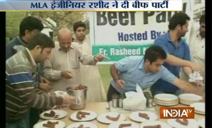 bjp demands action against mla engineer rashid for hosting