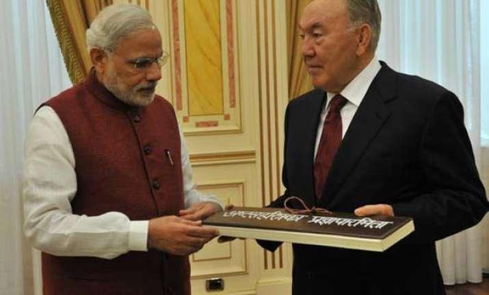 pm modi holds talks with kazakhstan president gifts him