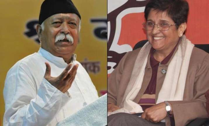 mohan bhagwat upset with bjp move to project kiran bedi as