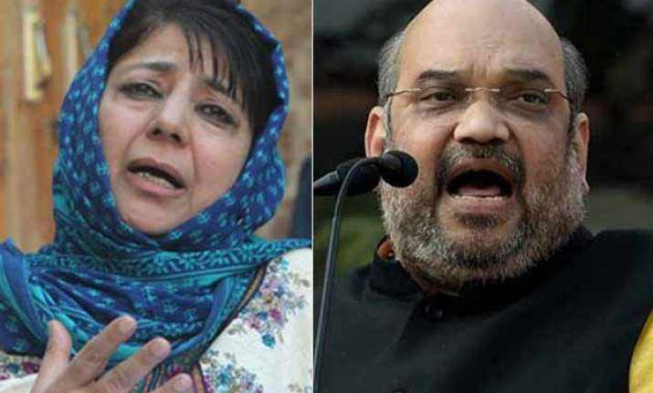 amit shah mehbooba mufti to seal j k government formation