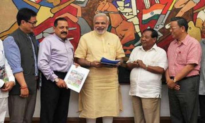 pm narendra modi meets delegation of northeast mps