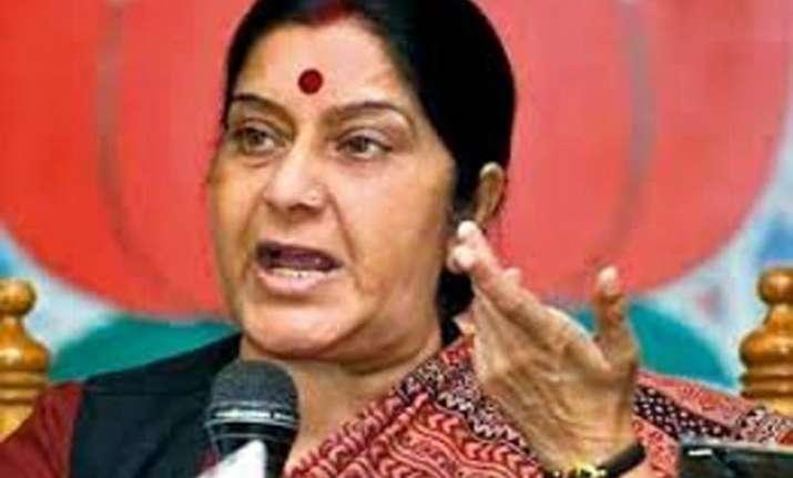 bjp shiv sena mps greet sushma swaraj in lok sabha
