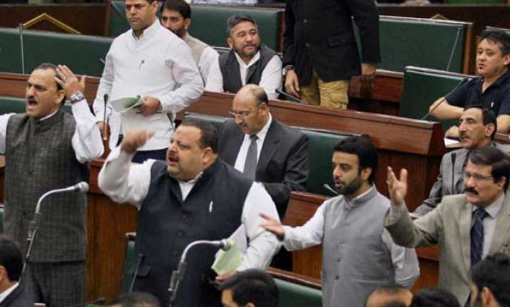 bjp protests in j k assembly over yesterday s terror attack