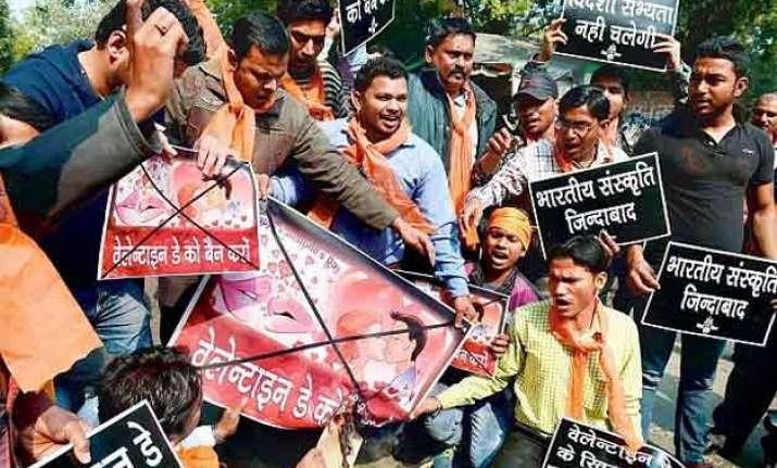 bajrang dal vhp men held for protesting valentine s day
