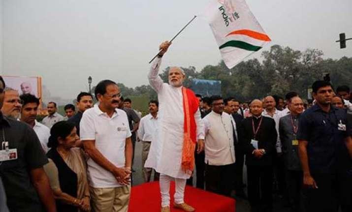 in pics narendra modi flags off run for unity