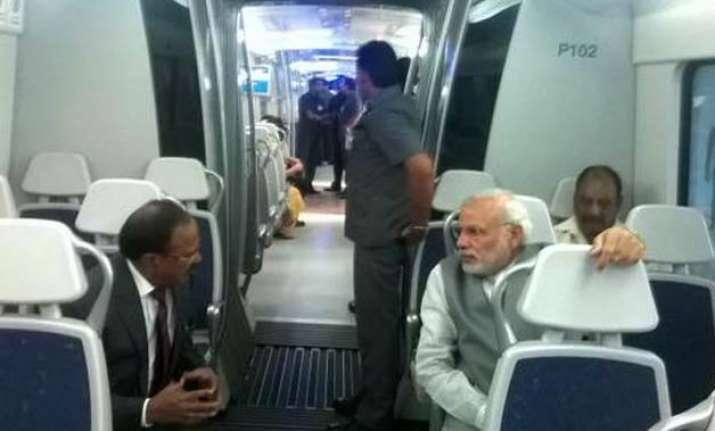 pm modi travels in delhi metro from dhaula kuan to dwarka