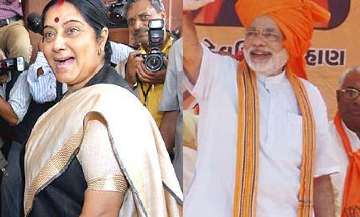 ad praising narendra modi targets sushma swaraj
