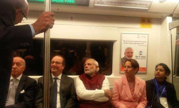eco friendly push modi hollande take a metro ride to gurgaon