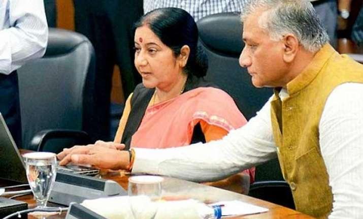 modi heaps praise on sushma swaraj vk singh