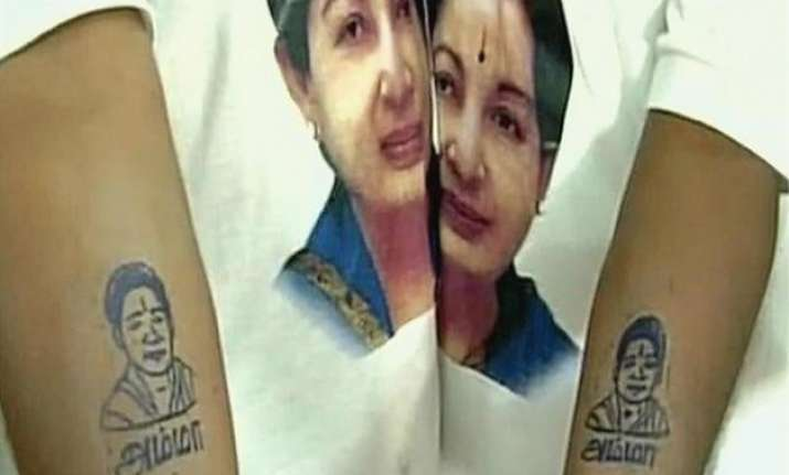 over 1 000 people tattoo j. jayalalithaa s picture name