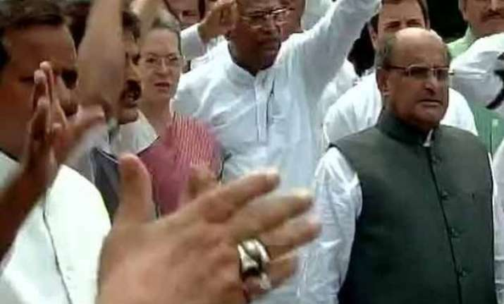congress mps continue protest for second day