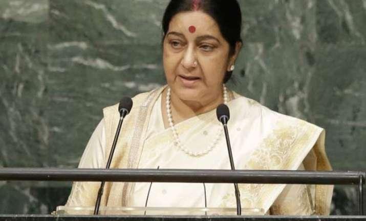sushma swaraj rakes up cross border terrorism