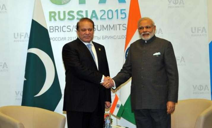 modi sharif discuss lakhvi trade at hour long bilateral