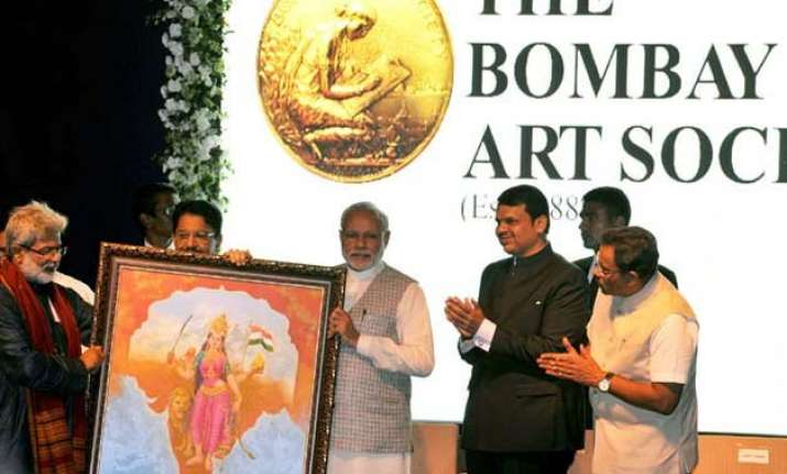 pm modi inaugurates bombay art society pitches for