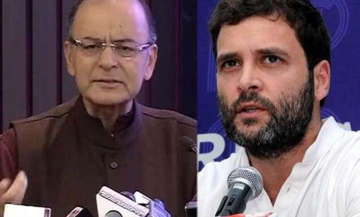 jaitley hits back at rahul s jibe at modi s 10 lakh suit