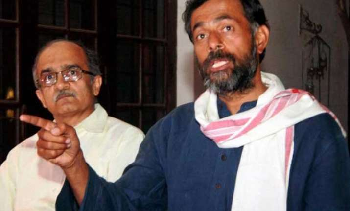 yogendra yadav prashant bhushan likely to be axed from aap