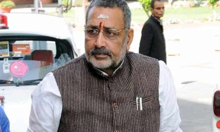 congress workers protest outside giriraj s residence
