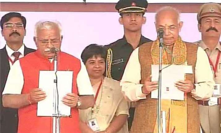 in pics manohar lal khattar sworn in as haryana cm