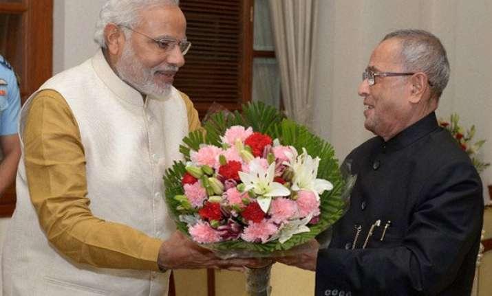 pm modi greets president pranab mukherjee on completion of