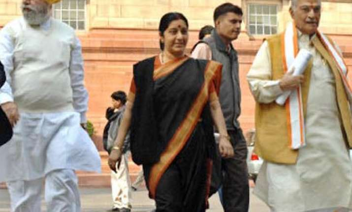 swaraj to succeed advani as leader of opposition