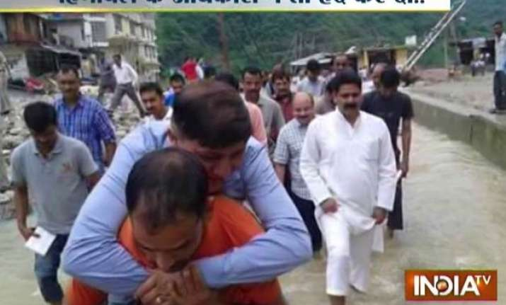himachal congress leader reviews flood situation riding on