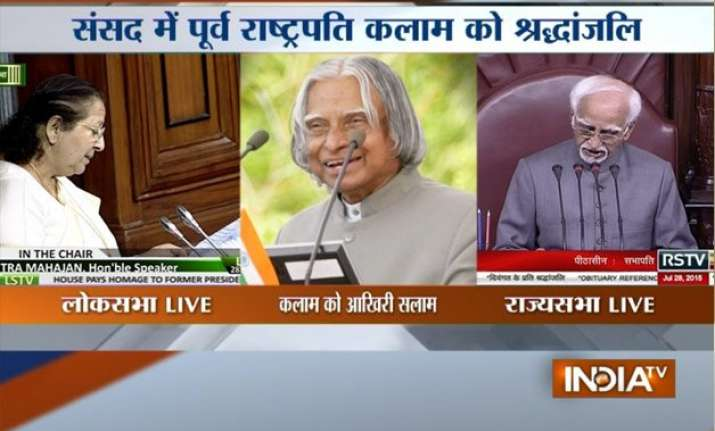 parliament adjourned after paying homage to apj abdul kalam