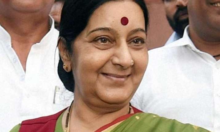 sushma swaraj calls on merkel meets her german counterpart