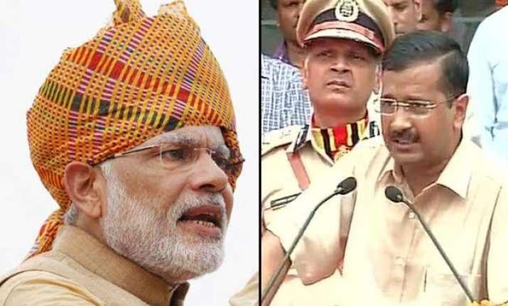 narendra modi escapes rains arvind kejriwal doesn t