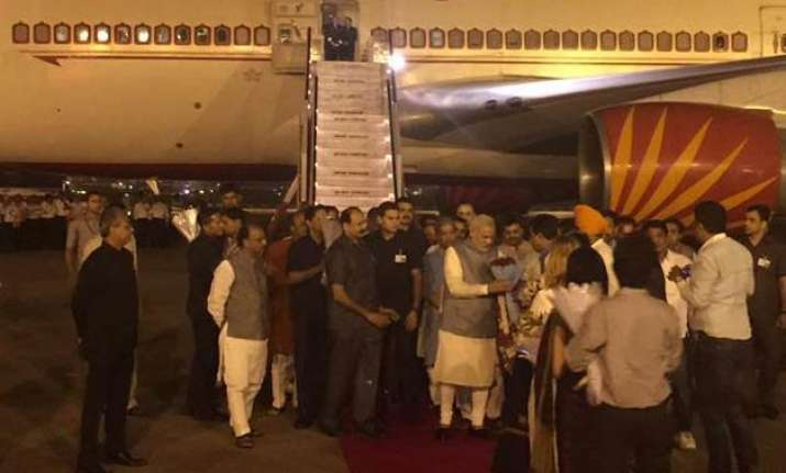 pm narendra modi returns home after 6 day tour of three