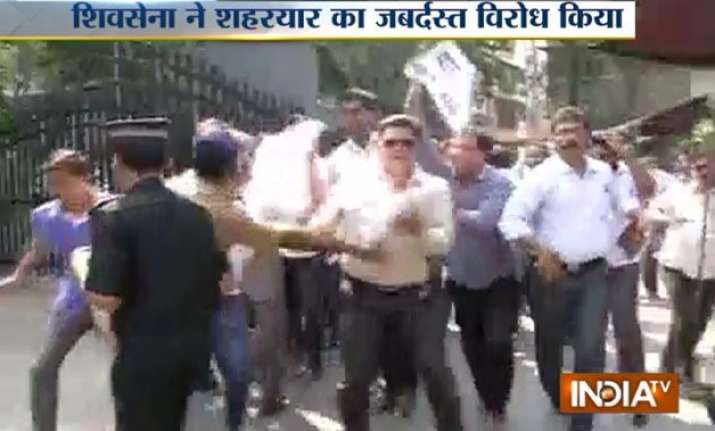 shiv sena activists protest at bcci office in mumbai