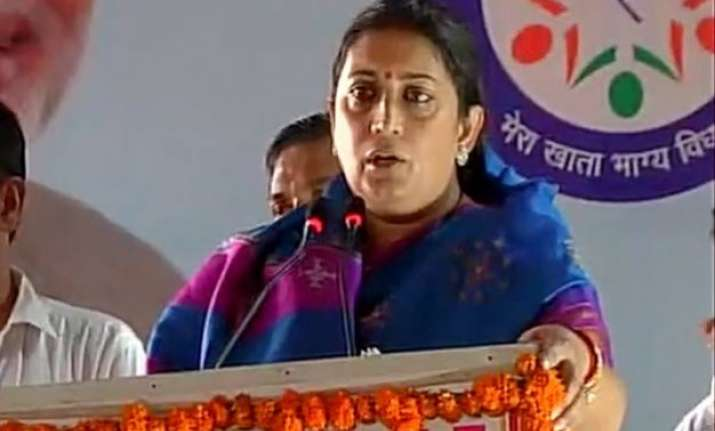 smriti irani alleges land scam by congress in amethi