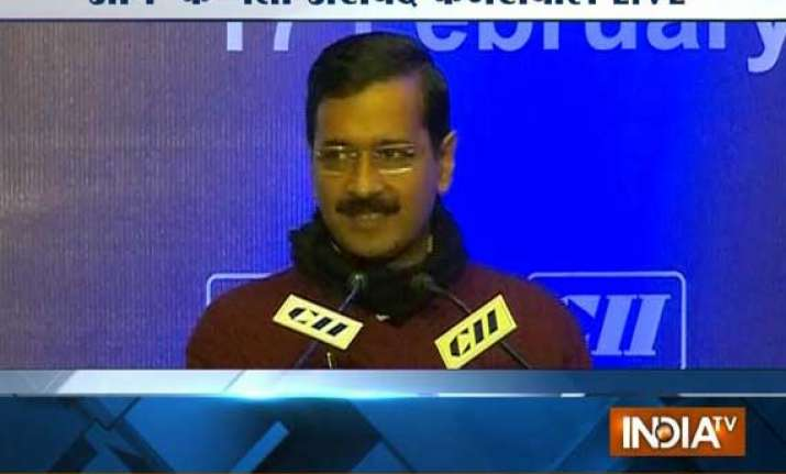 kejriwal unveils aap s economic vision before cii