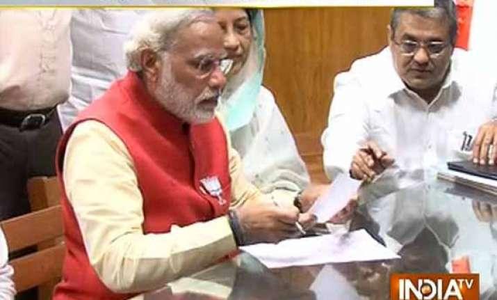 live narendra modi files nomination from vadodara lok sabha