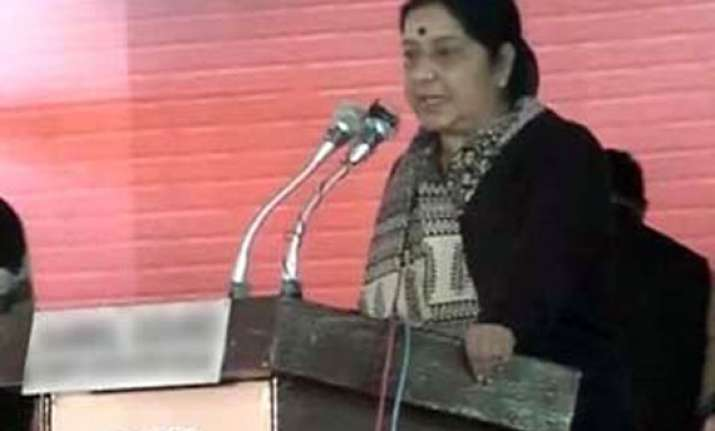 miffed sushma refuses to address rally as none came to