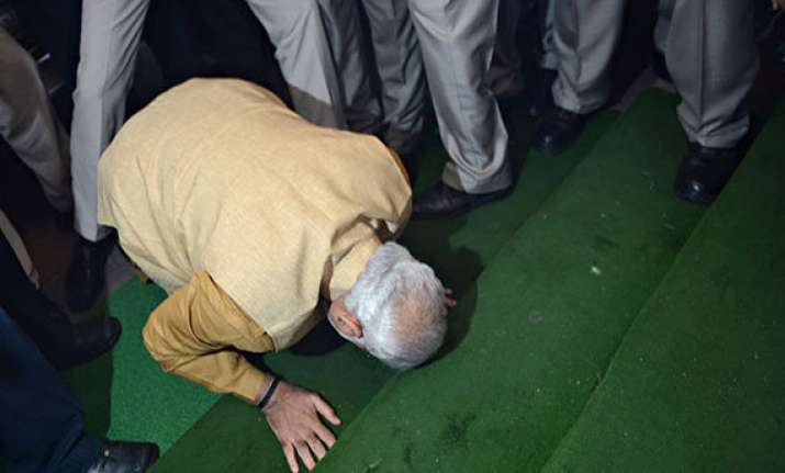 emotions run high as modi steps into parliament central hall