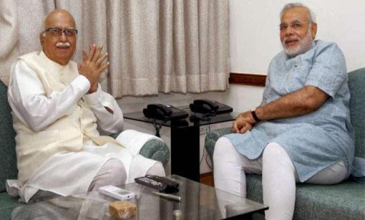 modi meets advani in gujarat