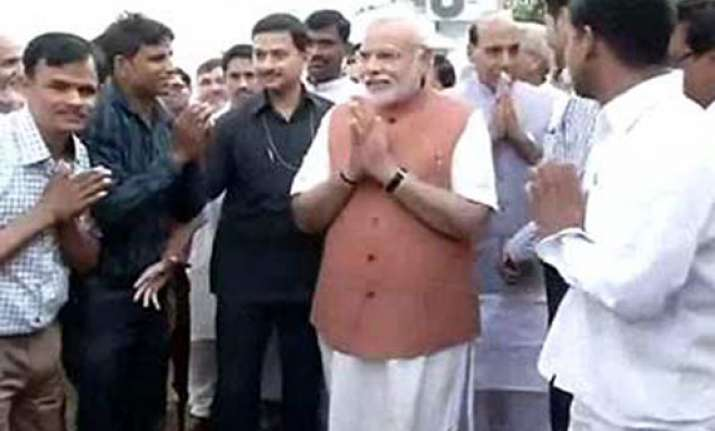 modi meets party workers sunday thanks them