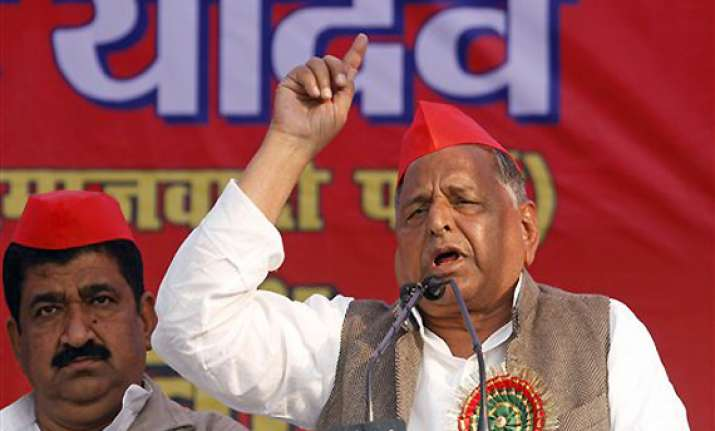 mulayam accuses bsp govt of land grabbing lodging fake cases