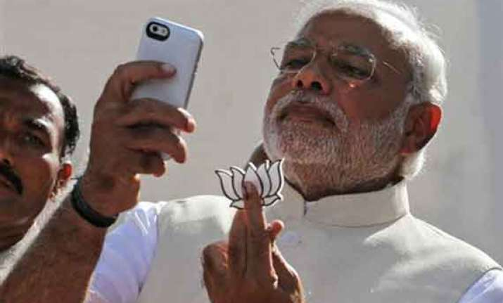 in pics narendra modi joins the selfie fever