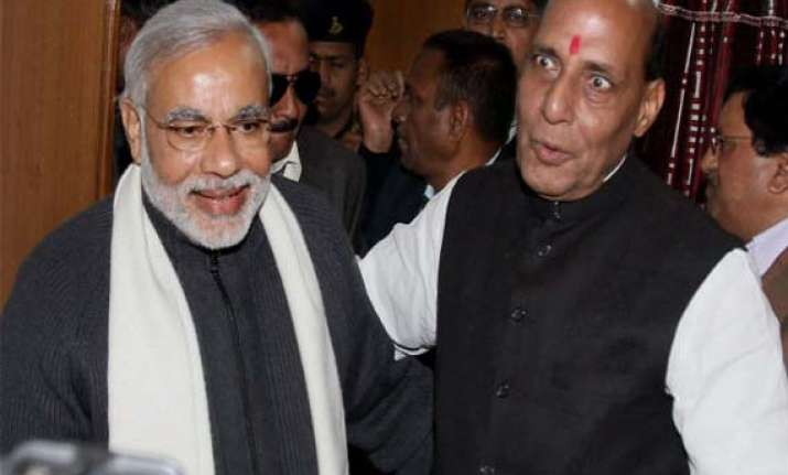 narendra modi rajnath discuss 2014 ls polls